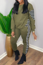 Army Green Casual Print Split Joint O Neck Long Sleeve Two Pieces