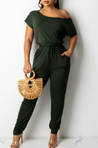 Army Green Casual Solid Split Joint Frenulum O Neck Straight Jumpsuits