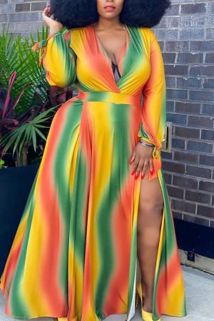 Green Yellow Casual Gradual Change Print Bandage Split Joint Slit V Neck Straight Plus Size Dresses