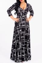Black Sexy Print Split Joint V Neck Waist Skirt Dresses