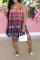 Red Sexy Print Split Joint Halter Cake Skirt Dresses