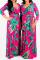 Rose Red Sexy Print Split Joint V Neck Waist Skirt Dresses