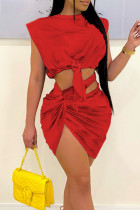 Red Sexy Solid Bandage Hollowed Out Split Joint Asymmetrical O Neck Sleeveless Two Pieces