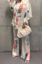 White Casual Print Split Joint Turndown Collar Long Sleeve Two Pieces