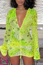 Green Yellow Sexy Print Split Joint Fold V Neck Pencil Skirt Dresses