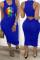Blue Sexy Fashion Lips Print Sleeveless Dress