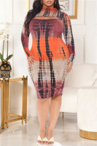 Tangerine Red Fashion Casual Plus Size Print Tie Dye Hollowed Out Half A Turtleneck Long Sleeve Dresses
