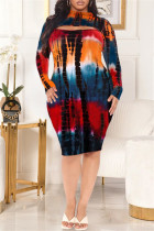 Blue Red Fashion Casual Plus Size Print Tie Dye Hollowed Out Half A Turtleneck Long Sleeve Dresses