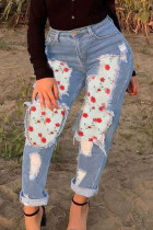 Light Blue Fashion Casual Patchwork Ripped High Waist Jeans
