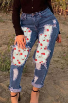 Deep Blue Fashion Casual Patchwork Ripped High Waist Jeans
