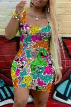Multicolor Sexy Casual Printed Vest Slim Dress