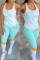 Light Blue Fashion Casual Printed Sleeveless Two-piece Set