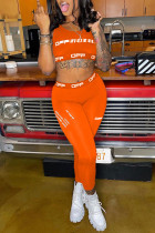 Orange Casual Sportswear Letter Print Vests Pants O Neck Sleeveless Two Pieces
