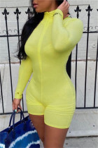 Yellow Fashion Casual Solid Basic Turtleneck Skinny Romper