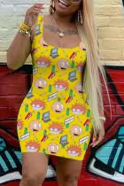 Yellow Sexy Casual Printed Vest Slim Dress