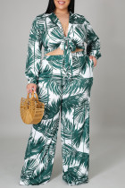 Green Fashion Casual Print Bandage Cardigan Turndown Collar Plus Size Two Pieces