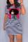 Red Fashion Casual Stripe Print Short Sleeve Dress