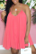 Pink Casual Solid Split Joint Spaghetti Strap Cake Skirt Dresses