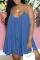 Blue Casual Solid Split Joint Spaghetti Strap Cake Skirt Dresses