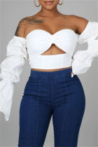 White Sexy Solid Hollowed Out Backless Strapless Tops