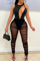 Black Sexy Solid Hollowed Out Split Joint See-through Fold O Neck Skinny Jumpsuits