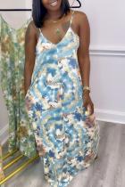 Blue Sexy Print Split Joint Spaghetti Strap Straight Dresses