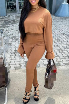 Light Brown Fashion Casual Solid Basic O Neck Long Sleeve Two Pieces