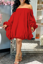 Red Fashion Sexy Solid Backless Off the Shoulder Long Sleeve Dresses