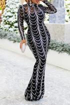 Silver Sexy Patchwork Sequins Mesh Half A Turtleneck Trumpet Mermaid Dresses