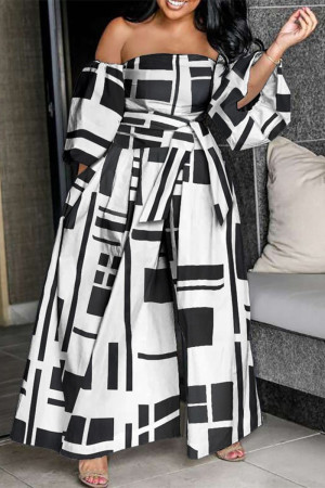 Black White Fashion Print Backless Off the Shoulder Plus Size Jumpsuits