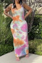 Colour Sexy Print Split Joint U Neck Pencil Skirt Dresses