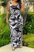 Black And White Sexy Print Split Joint U Neck Pencil Skirt Dresses