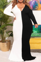 Black Casual Patchwork Print Split Joint V Neck Trumpet Mermaid Plus Size Dresses