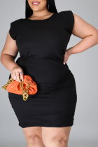 Black Casual Solid Split Joint O Neck Pencil Skirt Plus Size Dresses