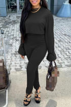 Black Fashion Casual Solid Basic O Neck Long Sleeve Two Pieces