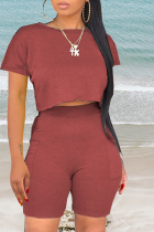 Burgundy Casual Solid Split Joint O Neck Short Sleeve Two Pieces