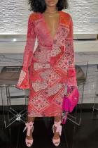Red Fashion Sexy Print Basic V Neck Long Sleeve Dress