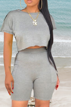 Grey Casual Solid Split Joint O Neck Short Sleeve Two Pieces