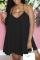Black Casual Solid Split Joint Spaghetti Strap Cake Skirt Dresses