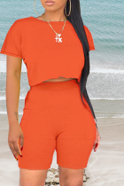 Tangerine Red Casual Solid Split Joint O Neck Short Sleeve Two Pieces