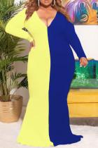 Blue Casual Patchwork Print Split Joint V Neck Trumpet Mermaid Plus Size Dresses