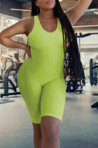 Fluorescent Green Sexy Solid Split Joint Backless Halter Skinny Jumpsuits