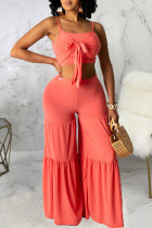Tangerine Sexy Solid Split Joint Flounce With Bow Spaghetti Strap Sleeveless Two Pieces
