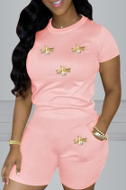 Pink Casual Print Split Joint O Neck Short Sleeve Two Pieces