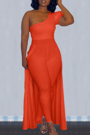 Tangerine Casual Solid Split Joint Asymmetrical Oblique Collar Skinny Jumpsuits