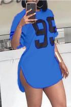 Blue Street Print Split Joint Cardigan Asymmetrical O Neck T-Shirts