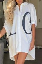 White Casual Letter Print Split Joint Turndown Collar Shirt Dress Dresses