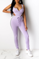 Purple Sexy Solid Split Joint V Neck Sleeveless Two Pieces