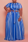 Blue Casual Striped Split Joint O Neck Cake Skirt Plus Size Two Pieces
