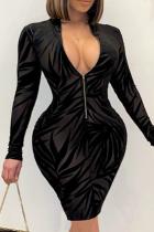 Black Sexy Print Split Joint V Neck Pencil Skirt Dresses
